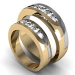 Awesome lovely designed two-tone wedding bands with diamonds in channel setting