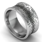 Celtic metal wedding band with hammer finish