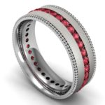 Ruby eternity band with milgrain and satin finish